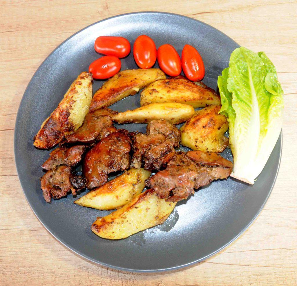 Πατάτες φούρνου με συκωτάκια κότας