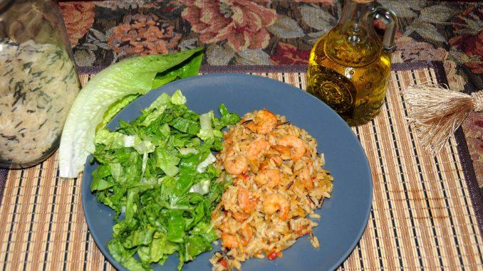 Ρύζι με γαρίδες και σαλάτα - Rice with Shrimp and Salad