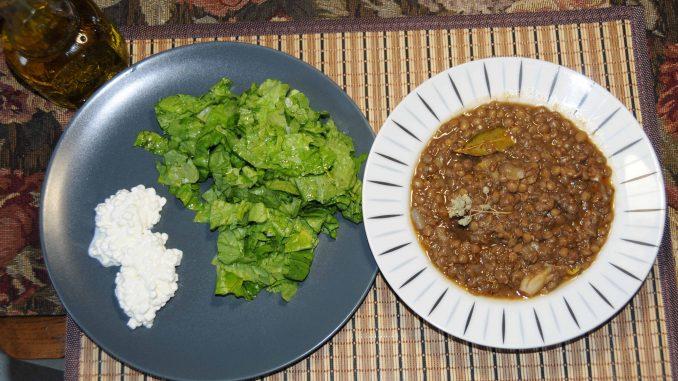 Φακές με σαλάτα και Cottage Cheese - Lentils with Salad and Cottage Cheese