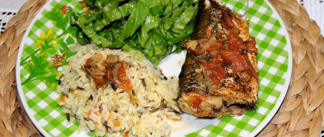 Ψητός κέφαλος πλακί με ρύζι - Roast Mugil Cephalus with Rice