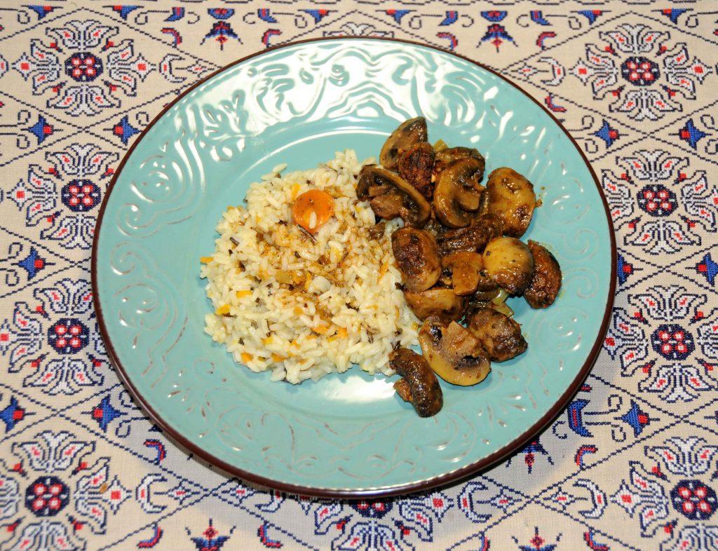 Ρύζι με σάλτσα μανιταριών - Rice with mushroom sauce