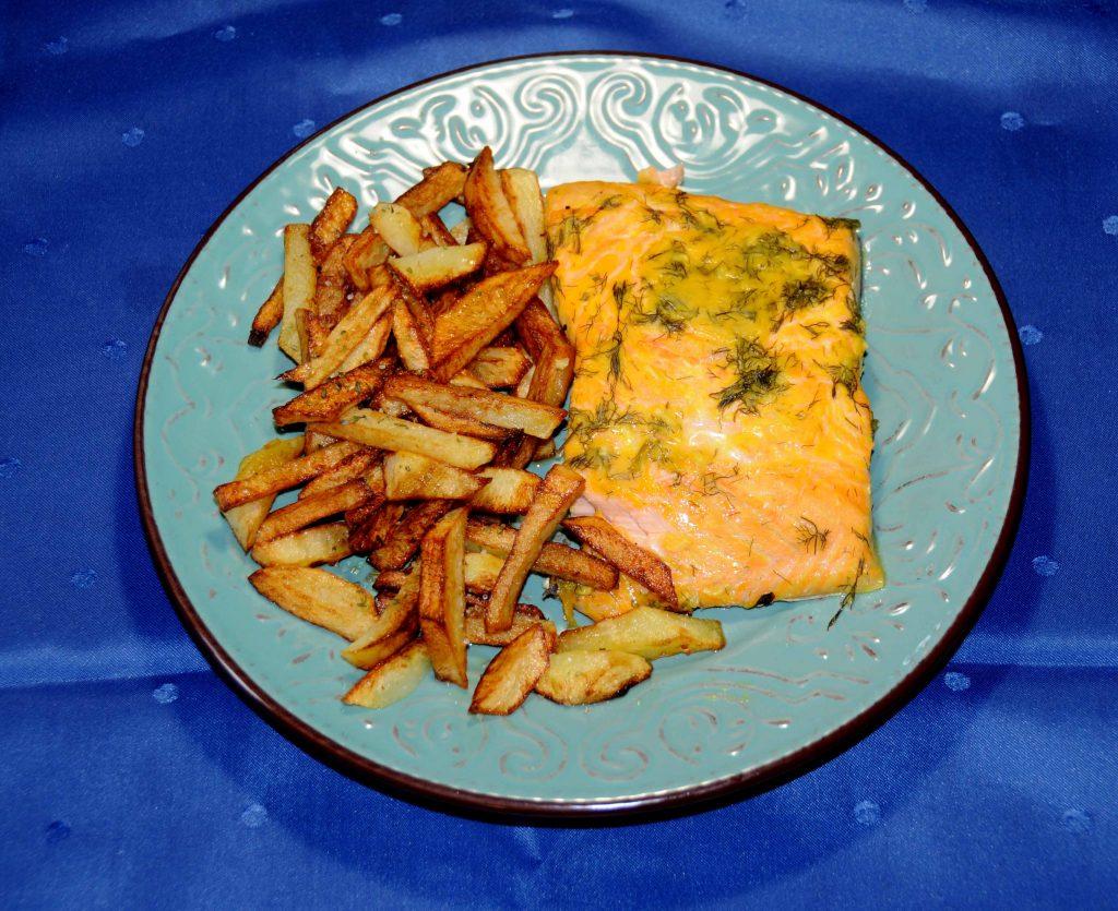 Σολωμός με μουστάρδα και πατάτες τηγανητές - Salmon with mustard and french fries