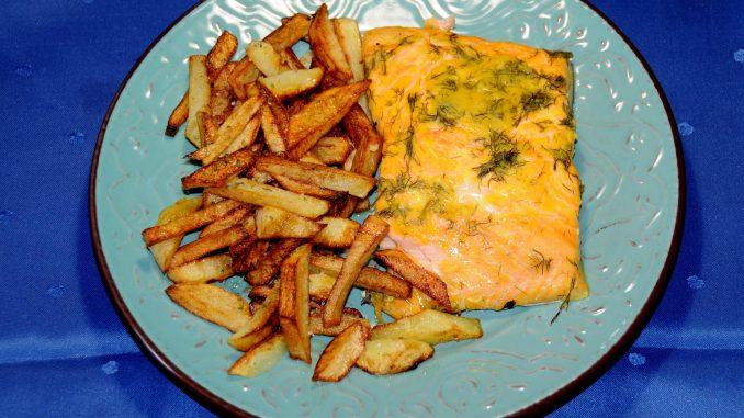 Σολομός με μουστάρδα και πατάτες τηγανητές - Salmon with mustard and french fries