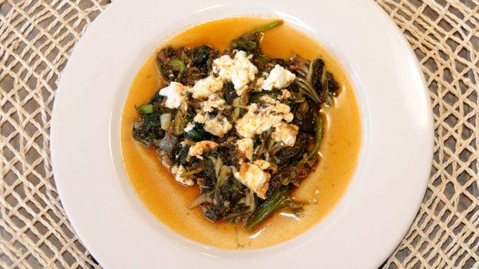 Σπανάκι και σέσκουλα κοκκινιστά με φέτα - Spinach and Sea beet with feta cheese
