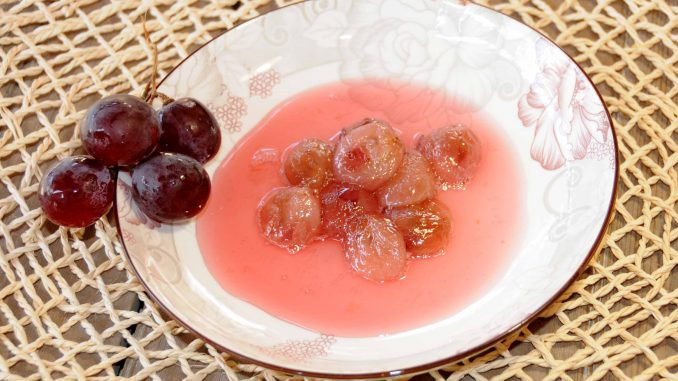 Γλυκό κουταλιού σταφύλι φράουλα - Sweet Red Globe Grapes with Seed Preserve