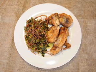 Κοτόπουλο ψητό με σαλάτα αντράκλα (γλιστρίδα) - Grilled chicken with salad