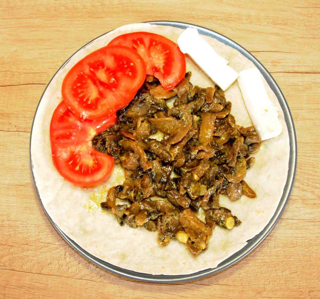Μερίδα Αραβική πίτα με μανιτάρια